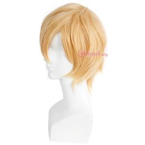 Image 2 - L email peruk Yepyeni Erkek Peruk 32 cm/16.6 inç Kısa Sarışın Isıya Dayanıklı Sentetik Saç Peruk erkekler Cosplay Peruk