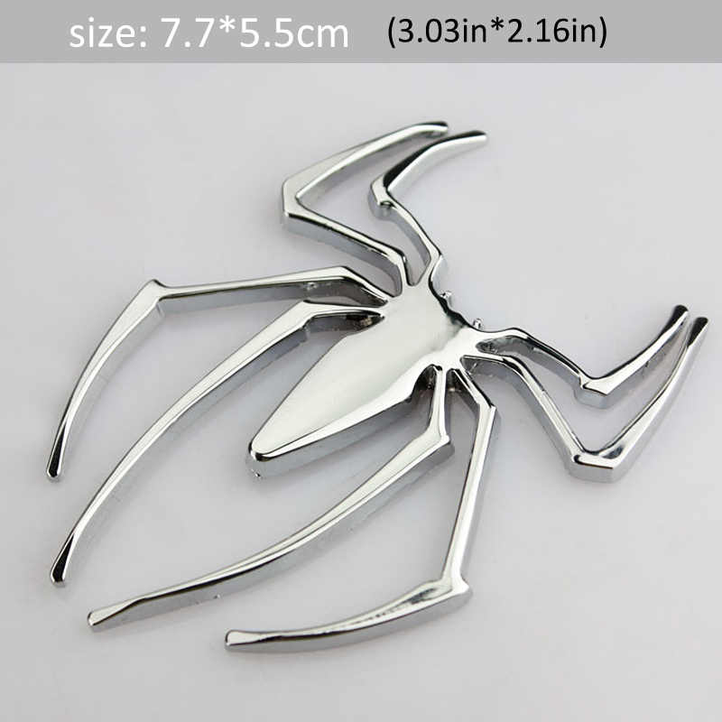 1Pcs 3D Metalen Spider Car Side Fender Kofferbak Embleem Badge Sticker Decals voor JEEP Dodge Mercedes BMW Mustang volvo Chevrolet