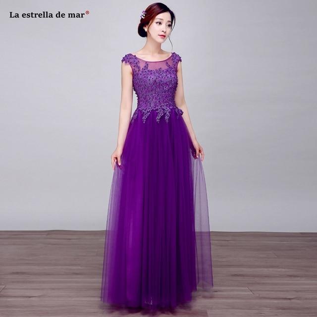 Vestido madrinha 2018 new lace beaded Scoop neck halter cap sleeve a Line  purple bridesmaid dress long plus size formal gowns dc532ceddfe2