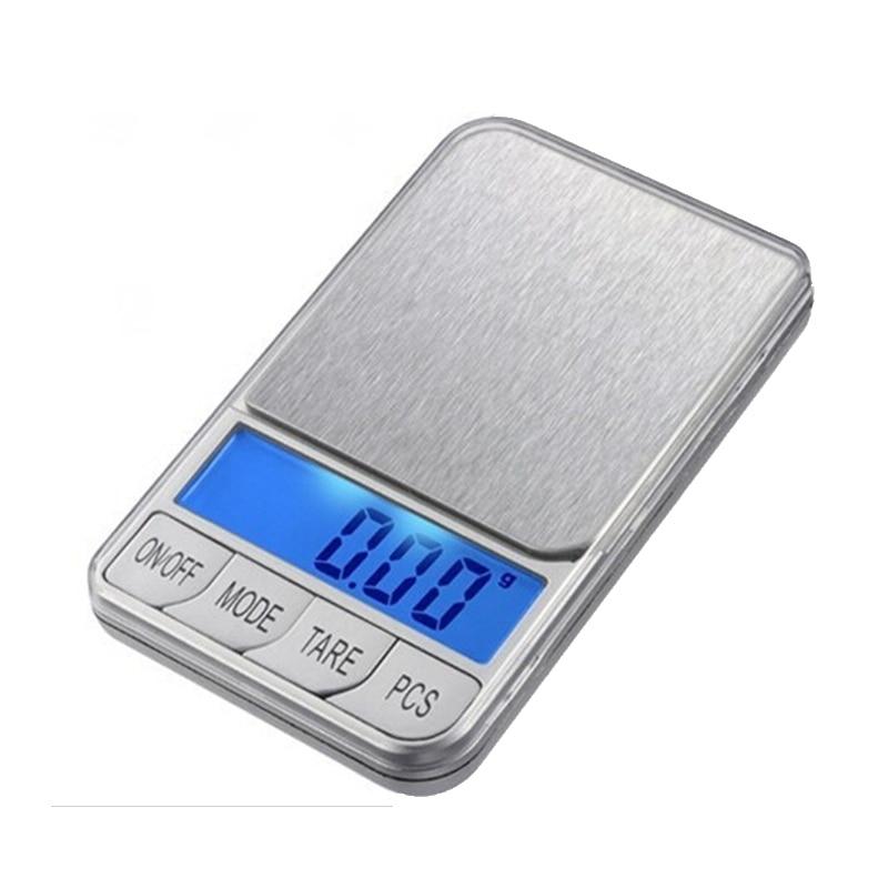500g 0.01 LCD Básculas electrónicas 500g 0.01g Báscula digital para joyas de bolsillo Plataforma grande de acero inoxidable Balance de peso + 7 unidades