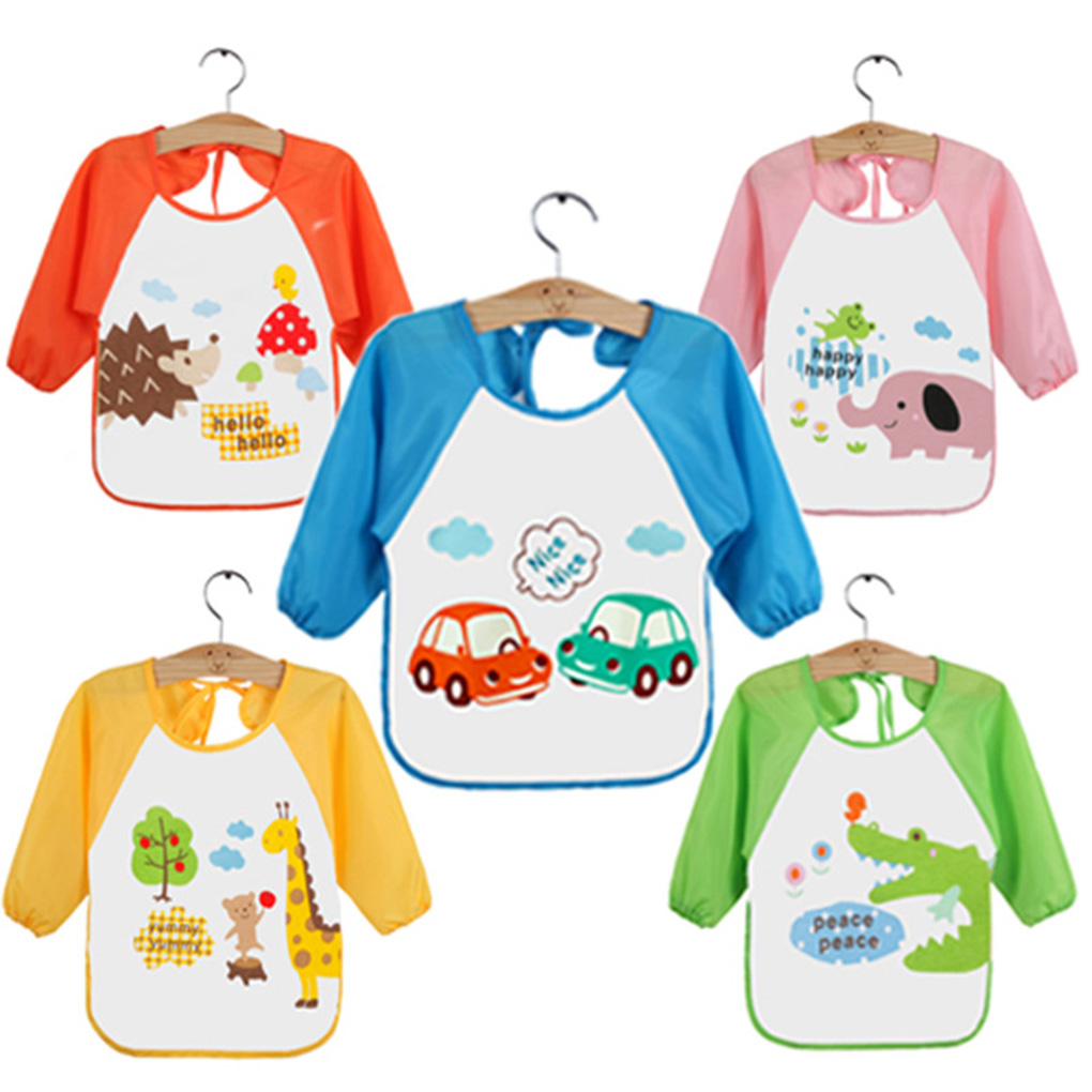Waterproof Newborn Baby Bibs Cartoon Long Sleeve Toddler Feeding Painting Cloths