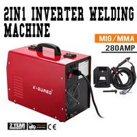 MIG Welder Inverter Gas/Gasless MMA 3 in 1 IGBT 230V 280 Amp DC Machine