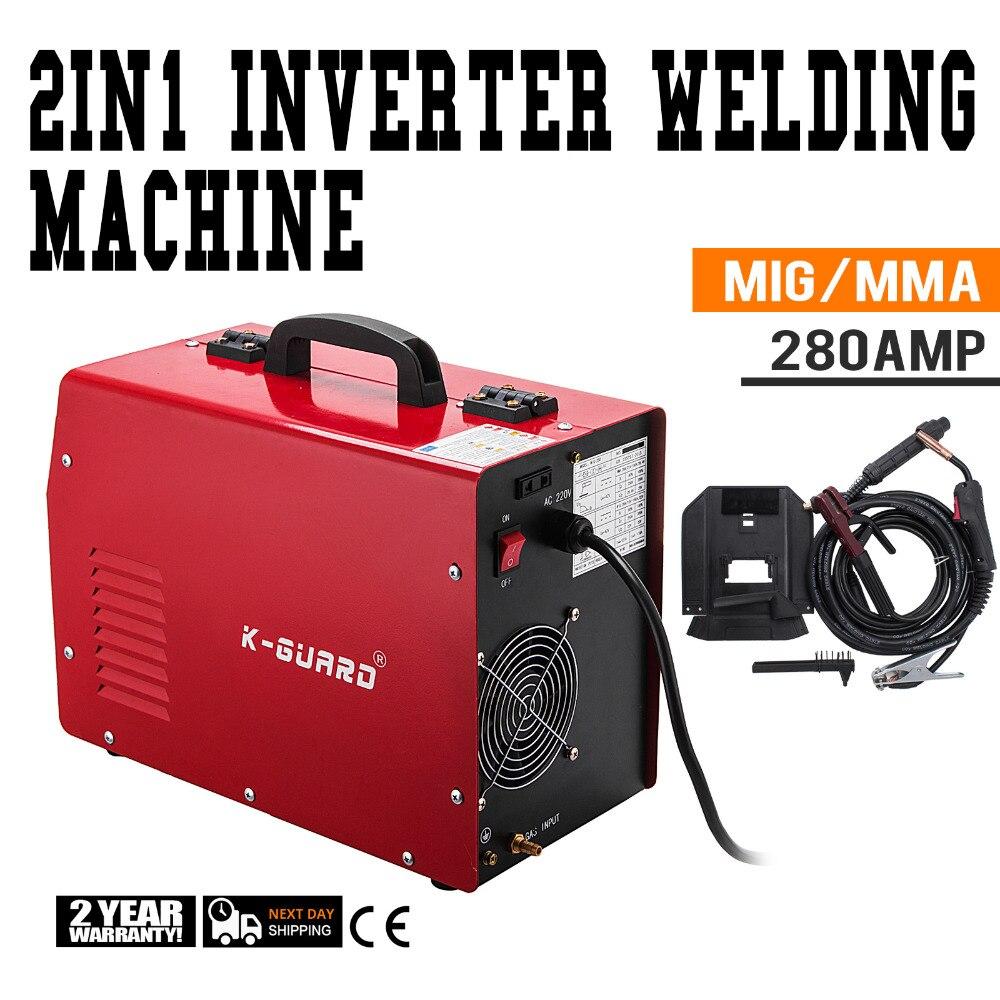 MIG Schweißer Inverter Gas/Gaslose MMA 3-in-1 IGBT 230 v 280 Amp DC Maschine