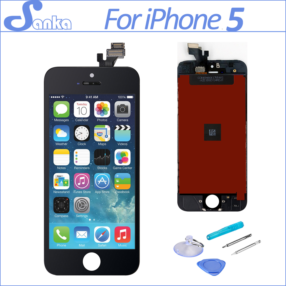 SANKA 10PCS for iPhone 5 Screen Touchscreen LCD Display Digitizer Ecran Replacement Assembly Black White Mobile Phone Parts