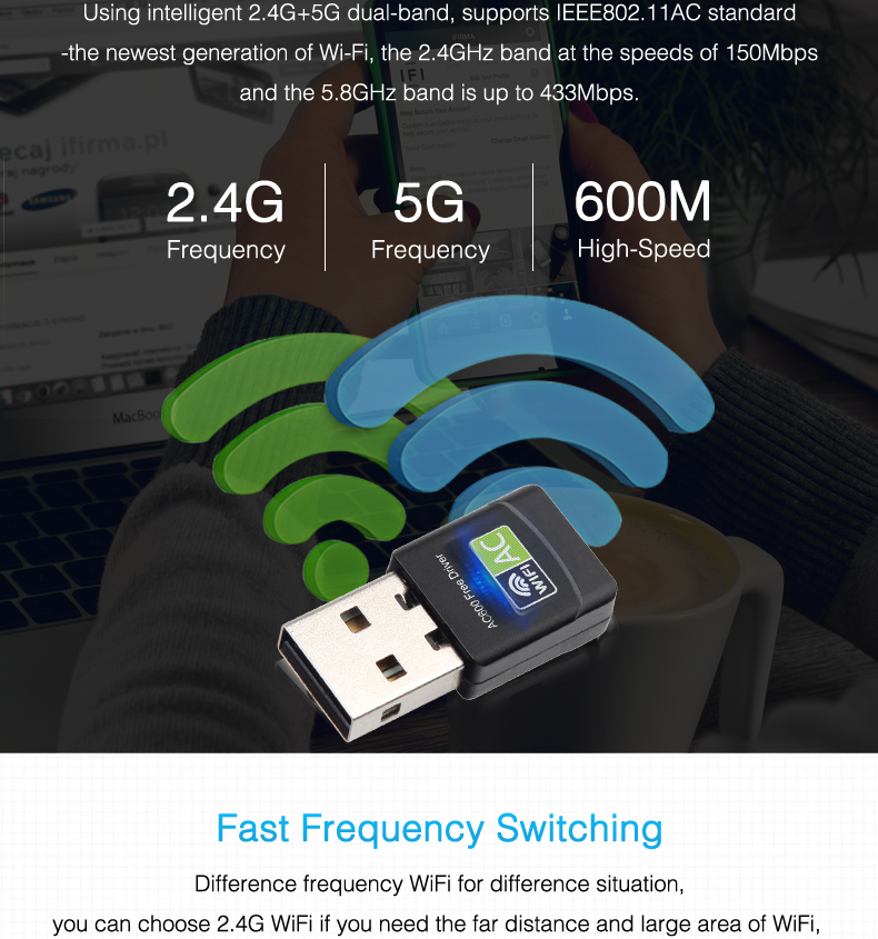 Free Driver Wireless USB Wifi Adapter 600Mbps Lan USB Ethernet 2 4G 5G Dual  Band Wi-fi Network Card Wifi Dongle 802 11n/g/a/ac