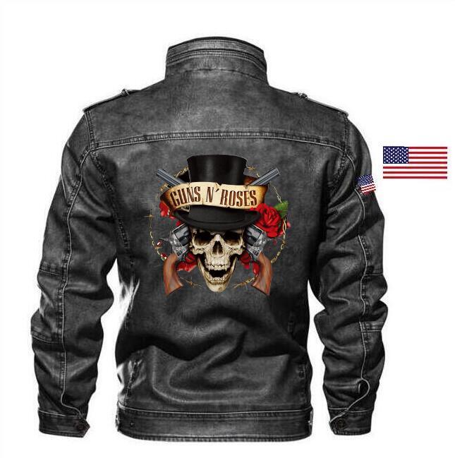 Goatskin Guns N'Roses Leather Jacket Slim Leather Men's Rock Band Jacket Brand Apparel + Embroidered Epaulettes