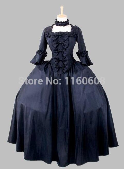 19th Century Gothic Black Victorian Era Big Ball Gown Stage Costume
