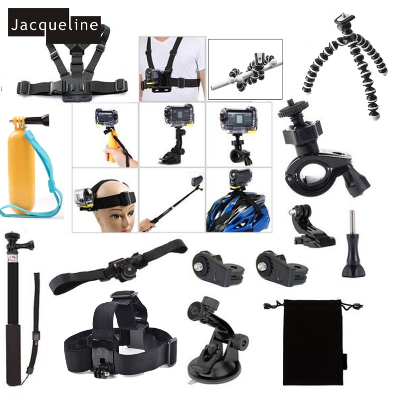 JACQUELINE for Xiaomi Yi/Ion Air Pro Kit Accessories for Sony Action Cam HDR AS50 AS200V AS30V AS300 AS100V AZ1 FDR-X1000V/W 4 k dz chm1 clip head mount kit for sony action camera fdr x1000v hdrr as200v hdr az1vr hdr as100v