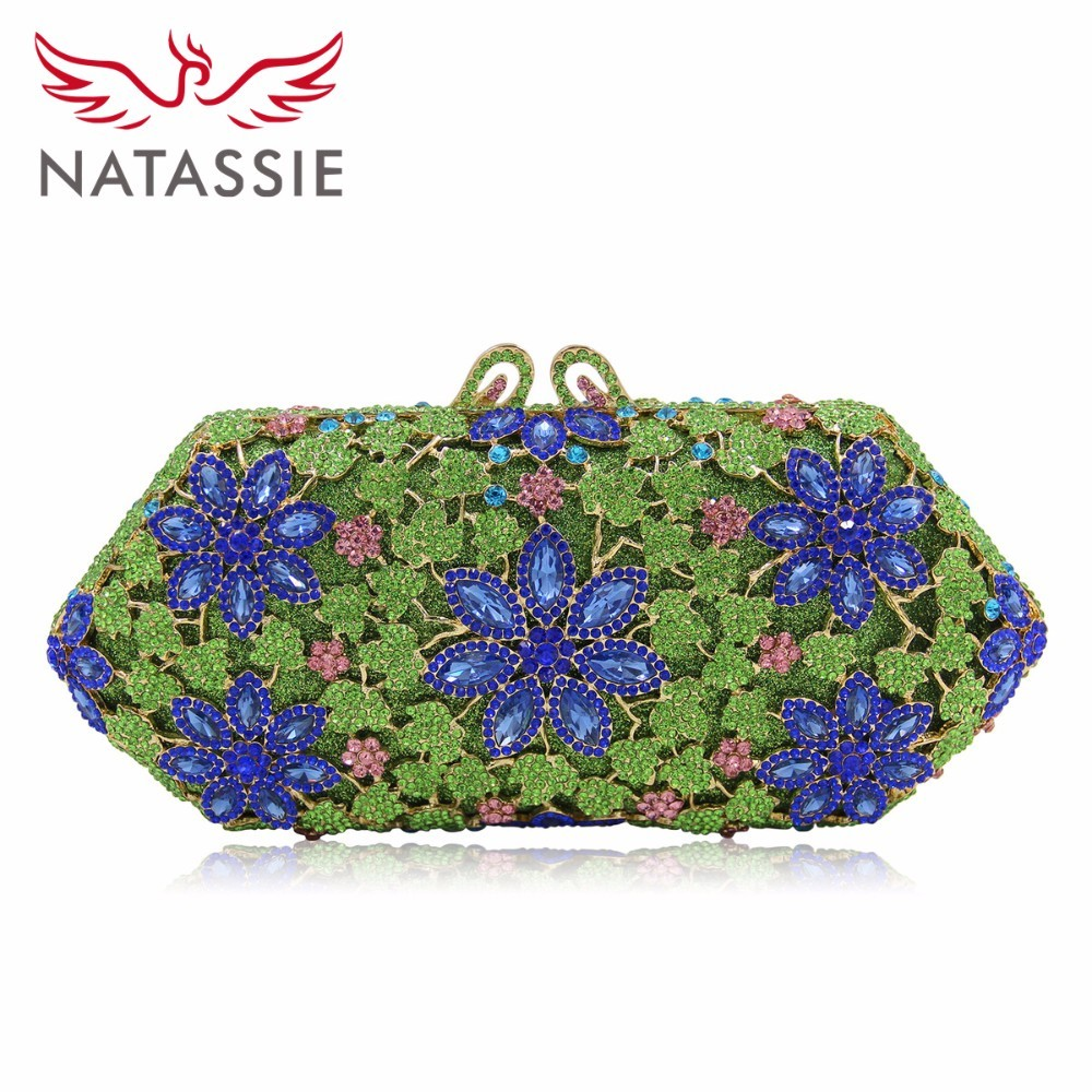 Natassie Multicolored Women Flower Pattern Crystal  Bridal Clutch Purse Metal Hard Case Evening Bag Shoulder Handbag Small Size