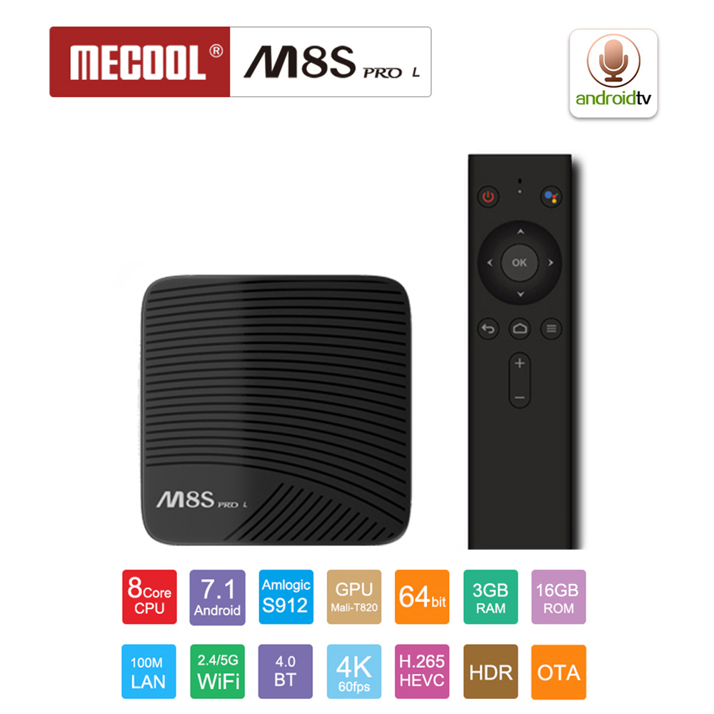 MECOOL M8S PRO L 2.4G Voice Control Smart TV Box Android 7.1 Amlogic S912 3GB RAM 16GB ROM Set Top Box H.265 4K Media Player mecool m8s pro l 4k tv box android 7 1 smart tv box 3gb 16gb amlogic s912 cortex a53 cpu bluetooth 4 1 hs with voice control