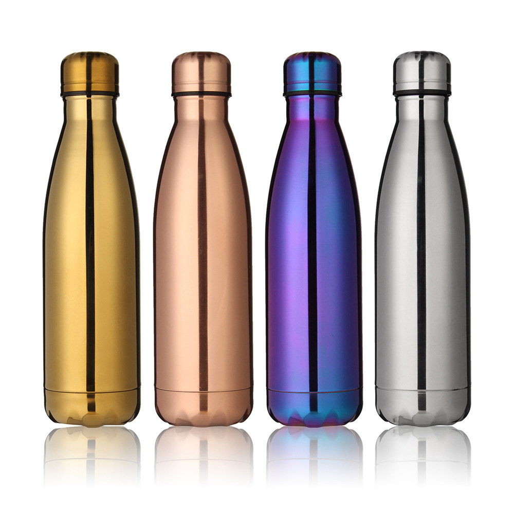 BPA Free Water Bottle 500ml Rose Gold Thermos Sport Vacuum Flask Stainless Steel Bright Insulated Fruit Milk Drink