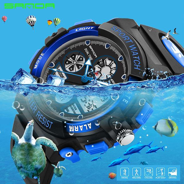 SANDA Fashion Children Watches Sport LED Digital Kids Watch Boys Girls Kids Waterproof Wristwatches For Children Gifts 116