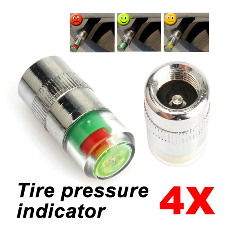 4pcs 36 psi tire tyre pressure indicator valve stem caps sensor 3 color eye wheel air press. Black Bedroom Furniture Sets. Home Design Ideas