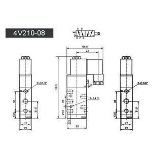 "Image 2 - Free Shipping 1/4"" 2 Position 5 Port Air Solenoid Valves 4V210 08 Pneumatic Control Valve , 12v 24v 110v 220v"