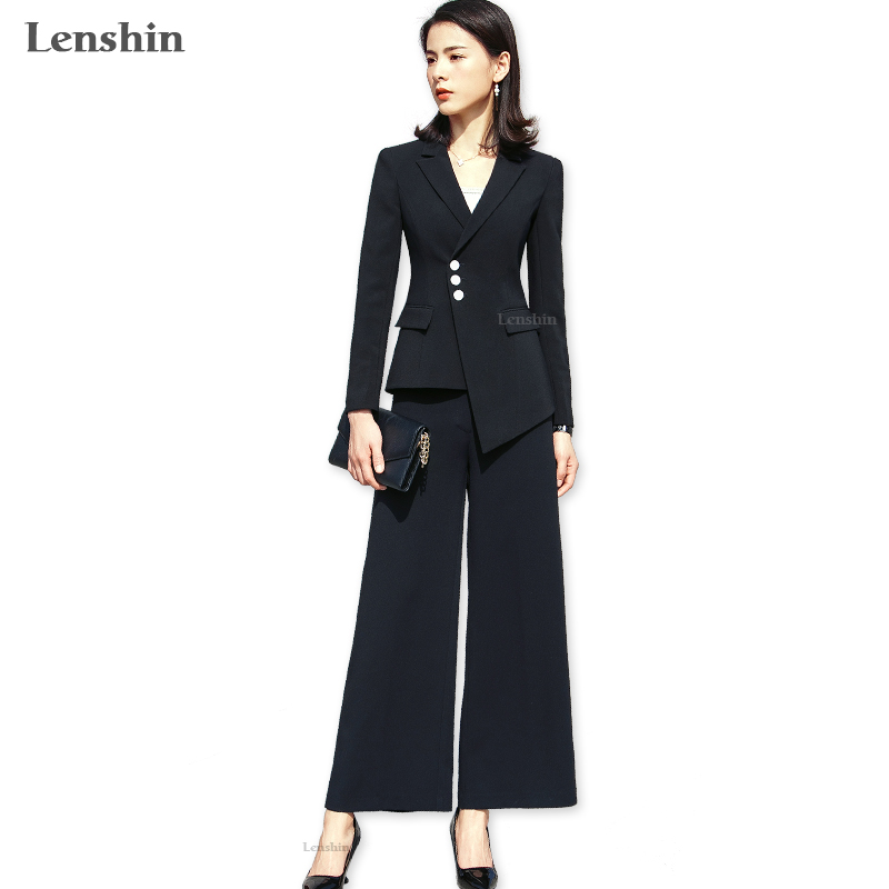 Lenshin 2 Pieces Set Formal Pant Suit With Pocket Women Work Wear Office Lady Uniform Style Business Jacket With Loose Pants