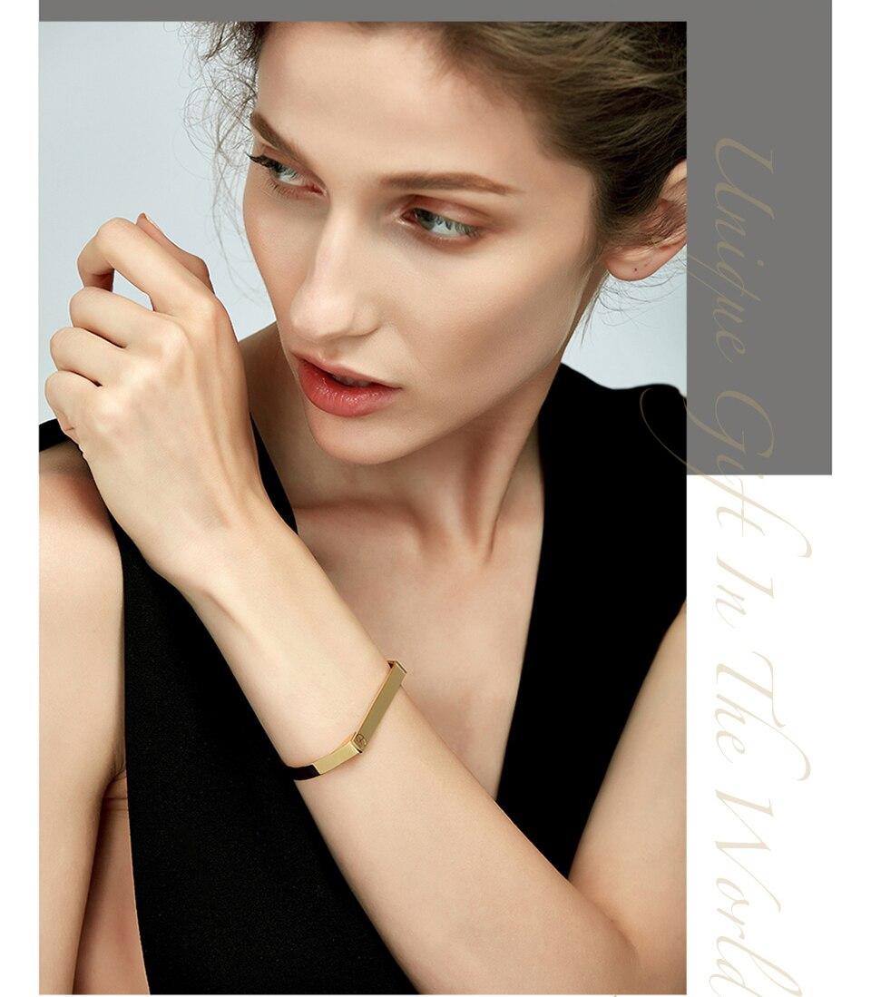 Enfashion Personalized Engraved Name Bracelet Gold Color Bar Screw Bangle Lovers Bracelets For Women Men Cuff Bracelets Bangles 7