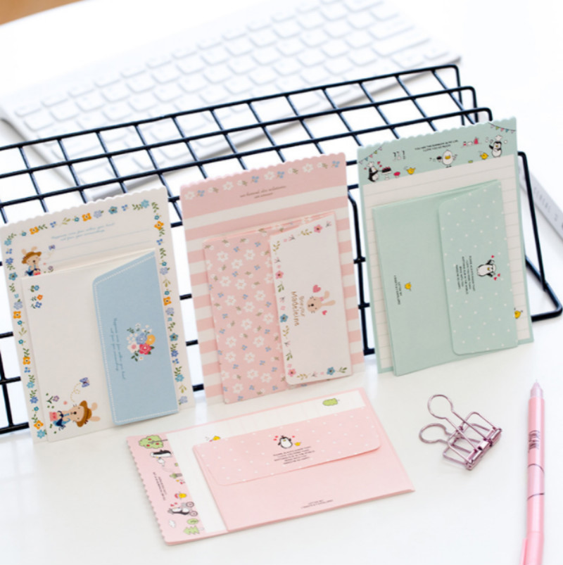 4 Pack/lot (One Pack=4 sheets letter paper+2 Pcs envelope) Kawaii cartoon envelope letter paper Set Office school Supplies