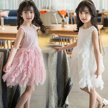 Children's clothing summer 2019 new European and American lace side round neck pink white sleeveless girls dress цена 2017