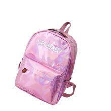 Travel Bags Silver Blue Pink Laser Backpack Women Girls Bag PU Leather Holographic Backpack School Bags for Teenage Girls #PL(China)