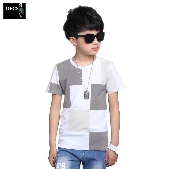 Tops Para Niños O-cuello de Algodón de Manga Corta Camisetas Niños Verano  de la 1c67696183c