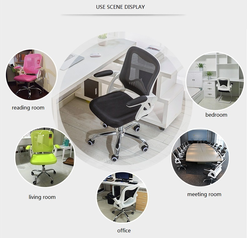 Office Conference Chair Folding Armrest Computer Stool retail and wholesale black green pink color free shipping 240337 ergonomic chair quality pu wheel household office chair computer chair 3d thick cushion high breathable mesh