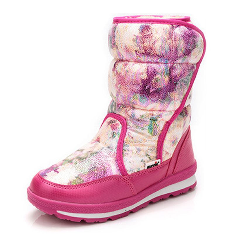 Children boots high quality waterproof girls snow boots warm plush winter shoes platform non-slip princess bootsChildren boots high quality waterproof girls snow boots warm plush winter shoes platform non-slip princess boots