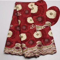 Alice C366 Factory Offer High Quality Latest African Cotton Lace Fabric With Stones African Swiss