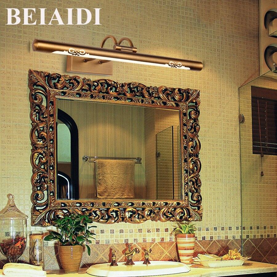 BEIAIDI 8W 11W Anti-fog Bathroom Mirror Lamp Retro Bronze Cabinet Vanity Led Mirror Light Indoor Lighting Fixtures for Home Bed цена