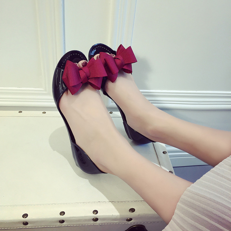 Summer Sweet Ribbon Bow Transparent Slides Ladies Women Flat Sandals Crystal Tongs Girls Jelly Beach Knot Peep Toe Shoes hee grand soft transparent jelly women sandals flat with crystal colorful rhinestones butterfly knot beach shoes xwz3446