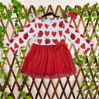 Newest Hot Style Valentines Day Girls Dresses Baby Girl Clothes Wedding Dresses Long Sleeve Red Heart