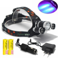 Super Bright Ultraviolet 6000 Lumen T6+2R5 UV LED Headlight Headlamp Flashlight Head Lamp  +2*18650 Battery + AC/Car Charger