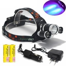Super Bright Ultraviolet 6000 Lumen T6+2R5 UV LED Headlight Headlamp Flashlight Head Lamp  +2*18650 Battery + AC/Car Charger