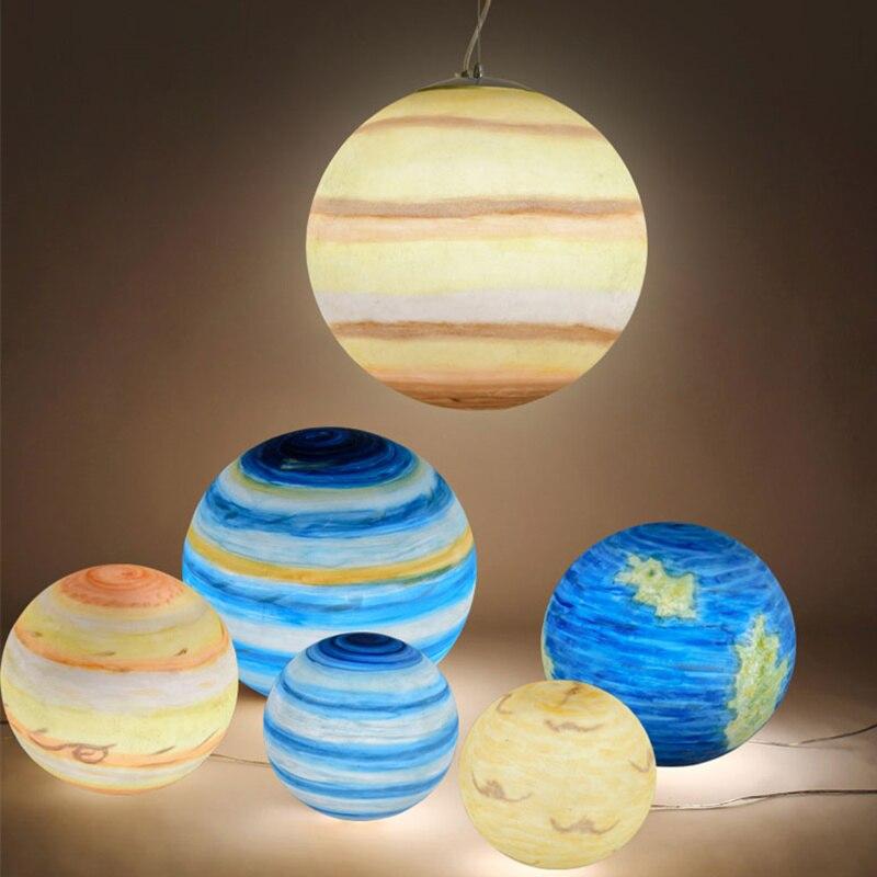 Wongshi nordique univers créatif planète acrylique suspension lumière lune soleil terre Mars Uranus mercure Jupiter saturne planète lampes