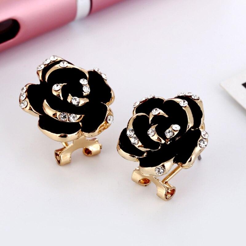 Pendientes de esmalte con diseño de flor negra para mujer, joyería de compromiso con diamantes de imitación, estilo clásico, rosa, 2019