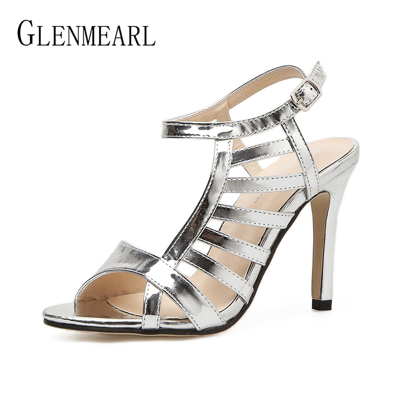 Heel Women Shoes Gladiator Sandals Silver Shoes Woman Brand Sandals High Heels Open Toe Thin Heels Female Shoes Wedding Shoes DE luxury brand crystal patent leather sandals women high heels thick heel women shoes with heels wedding shoes ladies silver pumps