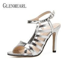 Heel Women Shoes Gladiator Sandals Silver Shoes Woman Brand Sandals High  Heels Open Toe Thin Heels 8b4a82eeb96b