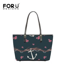 FOURDESIGNS Big Handbags Anchor Printing Women Leather Shoulder Bags High Quality Top-handle Ladies Beach Shopping Luxury Totes
