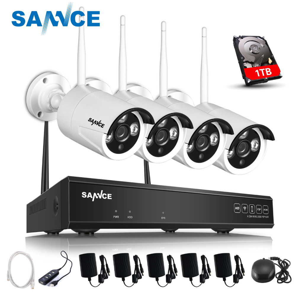 SANNCE Plug and Play 4CH Wireless NVR Kit P2P 720P HD Outdoor IR Night Vision Security IP Camera WIFI CCTV System 1TB HDD anran plug and play 4ch cctv system wifi nvr kit p2p 1080p hd ir ip camera wifi outdoor cctv camera security system 2tb hdd
