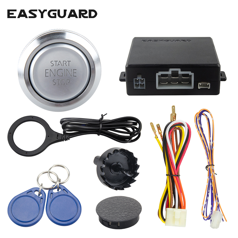 QUALITY RFID keyless go system car alarm with transponder easy to install arm disarm push button