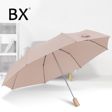 Bachon wooden handle umbrella female folding automatic woman sun light portable rain women