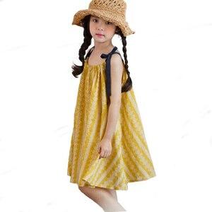 2019 bebê meninas sling bola vestidos algodão solto praia vestido de verão menina festa vestidos princesa vestido floral 4 6 8 10 12 14 anos