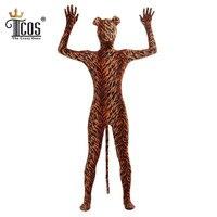 Adulte Tigre Animal Sexy Costume Zentai Body Deuxième Peau Serré Costume Unitard Corps D'une Seule Pièce Halloween Cosplay Costumes