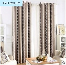 Korean Style Luxury Curtains for Living Room/Bedroom Geometrical Pattern Jacquard Weave curtains