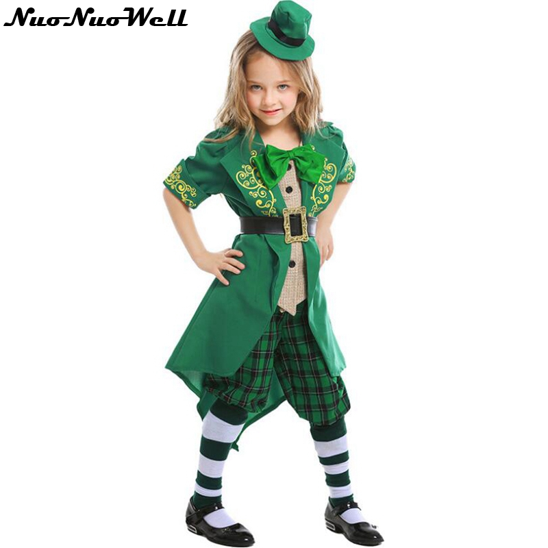 Cute Girl Halloween New High Quality Party Dress St Patrick's Day Fancy Dress Costume Outfit with Hat and Socks