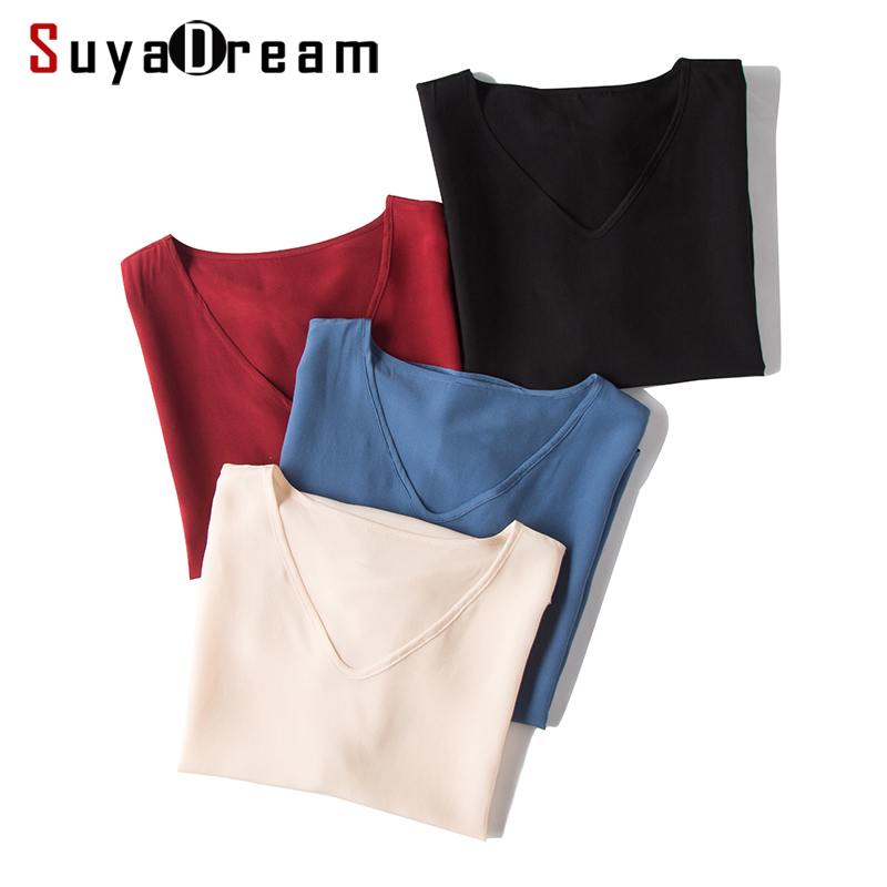 Women T Shirt 100%REAL SILK Solid V Neck T Shirt Short Bat Sleeved Casual Shirts 2020 Summer Fall Bottomming Top