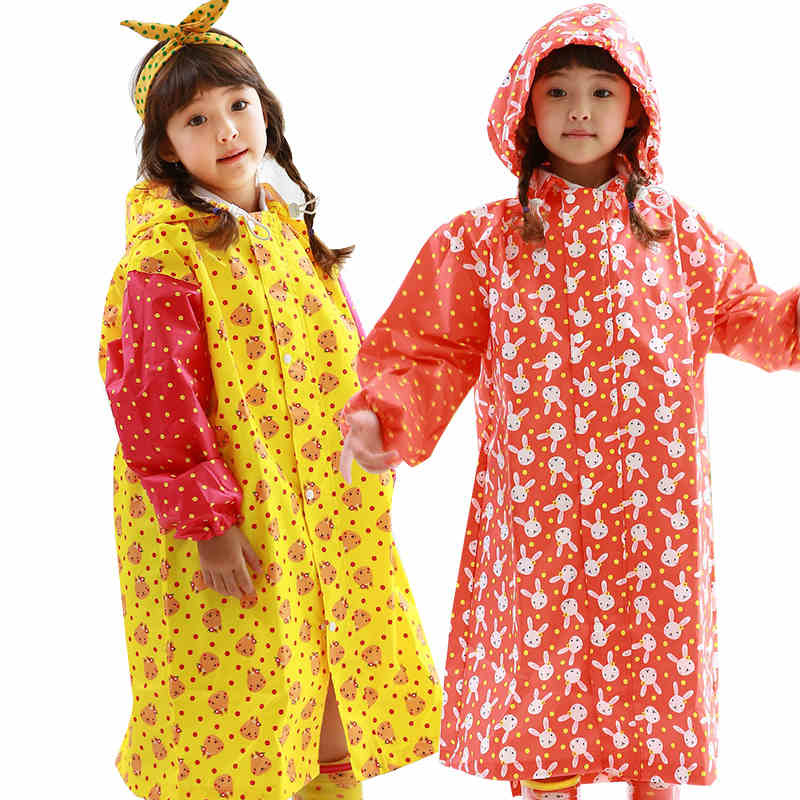 Cute Chidren Rainwear Princess Raincoat Girls Kids Waterproof Regenpak Rainwear Raincoat Girl Backpack For Children QQG210