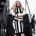 2016 New Free Shipping! Chic Inspired Geometric Pattern Long Sleeve Two Pieces Set Celebrity Party Style Wholesale Bandage Dress