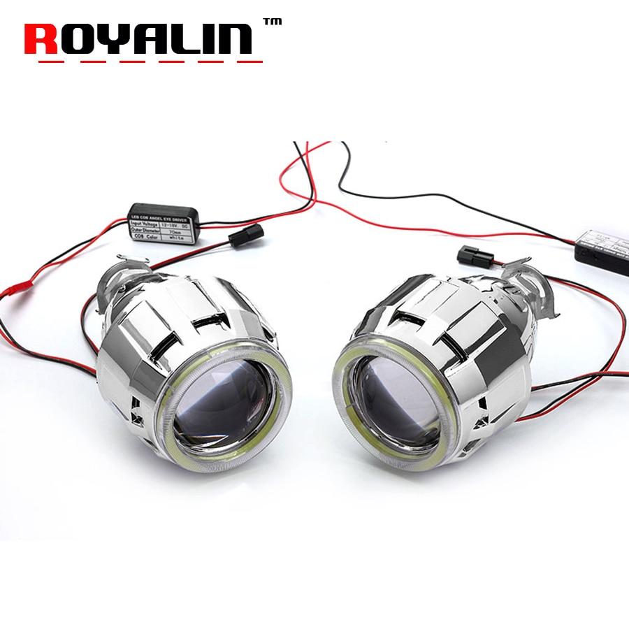 ROYALIN 2.5 Car 70mm LED COB Angel Eyes Bi Xenon Lens Halogen H1 Projector Headlights Lens Universal Auto Hi/lo for H4 H7 Lights royalin car styling relay harness 12v for h1 h4 d2s h7 bi xenon projector lens hi lo beam wiring controller w fuse protection