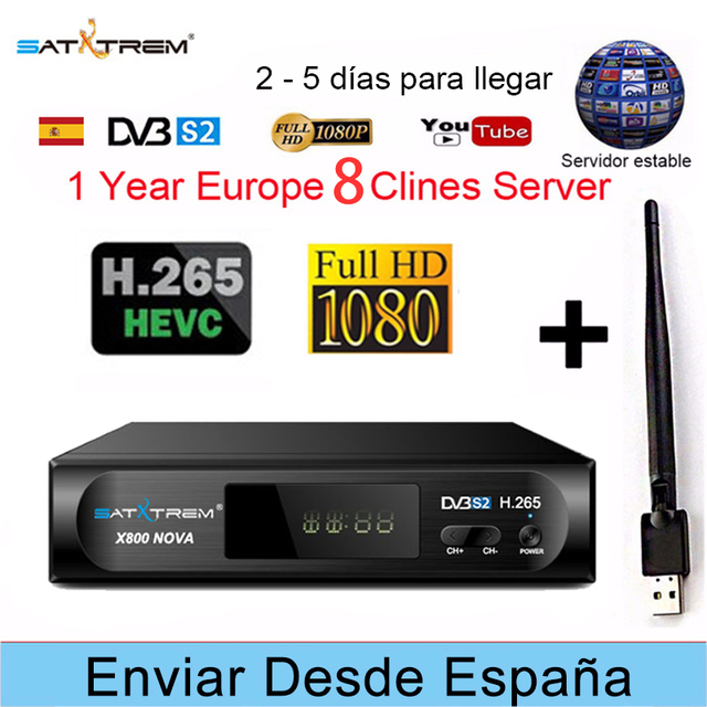 US $38 39 20% OFF|PK V8 NOVA WITH Cccam 8 lines for 1 year Spain Europe  X800 Nova H 265 DVB S2 IPTV Satellite Receiver Free TV Decoder RECEPTOR-in