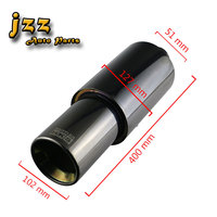 JZZ universal car muffler tip 51mm in black blue purple exhaust pipe high quality stainless steel silencer with double wall out